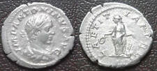 Roman silver Denarius; Elagabalus; reverse of Laetitia with rudder