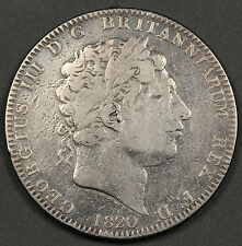 Great Britain 1820 LX Silver Crown Coin George III VG/Fine KM #675