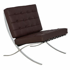 Barcelona Style Modern Leather Pavilion Chair in Dark Brown