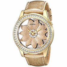 GUESS LADIES GOLDTONE  CRYSTAL FLORA WATCH, NEW WITH TAGS, IN CASE, U0534L2 NEW