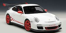 AUTOART PORSCHE 911 997 GT3 RS 3.8 CARRERA WHITE W/ GUARDS RED STRIPES 1:18 New!