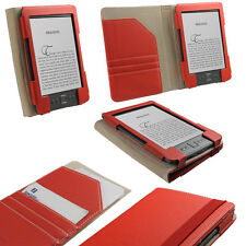 "Rojo Cuero Pu Funda Para Amazon Kindle 4 Wifi 6 ""E Ink Display Titular"