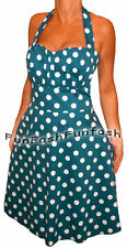 VZ2 FUNFASH NEW BLUE WHITE POLKA DOTS ROCKABILLY HALTER PLUS SIZE DRESS 1X 18 20