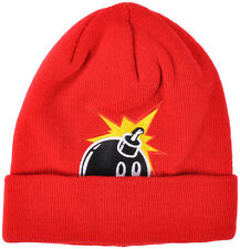 The Hundreds Peak A Beanie Bomb Logo Knitted Cuff Skate Unisex Acrylic Hat Red