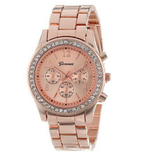 Unisex Casual Rinestone Geneva Rose Gold Watch Quartz FREE GIFT