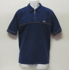 MENS OAKLEY ZIP NECK SHIRT TOP SIZE S BLUE LOGO ON CHEST COLLARED SHORT SLEEVE