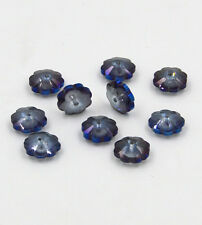 12pieces Swarovski 10mm Middle hole Plum Blossom Crystal bead C Hyaline blue