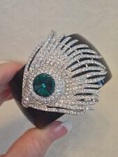 NEW Kenneth Jay Lane PAVE CZ, green Stone FEATHER Black Resin Hinged Bracelet