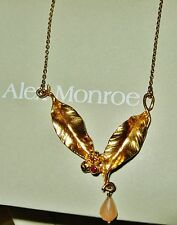 ALEX MONROE AMAZING 2 LEAF PEACH MOONSTONE 22CT GOLD ON STERLING SILVER NECKLACE