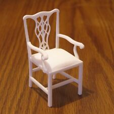 "Councill Cambridge Arm Chair miniature 3D printed in white plastic 3"" tall"