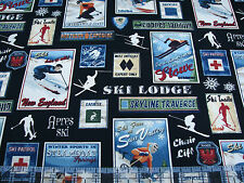 1 Yard Quilt Cotton Fabric- Benartex Ski Country Ski Resort Patches Rating Patch