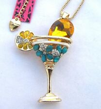 Betsey Johnson crystal glass Champagne glasses pendant Necklace#273L Y