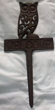 """Large Cast Iron Owl Hook Lawn Stake """" WELCOME"""" Lawn Decoration 15"""" Tall Rustic"""