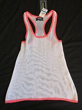 New Women's MMXIII Twenty Thirteen Cream & Coral Fishnet Tank Top Size Small