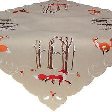 Tischdecke 85 x 85 cm Mitteldecke Fuchs im Wald Tischdeko Herbstdeko Beige