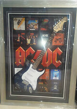 ACDC HAND SIGNED FRAMED GUITAR LEGENDS ANGUS YOUNG PHILL RUDD WITH BACKDROP