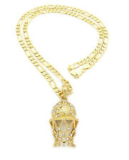 "Men Iced Out 14K Gold Plated Basketball CZ Pendant 5mm 24"" Figaro Chain Set"