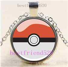 Pokemon Ball Photo Cabochon Glass Tibet Silver Chain Pendant Necklace