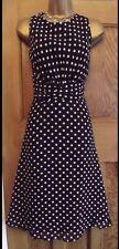 WALLIS❤️ Beautiful Vintage Style 50's Black Polka Dot Dress size 16 Party
