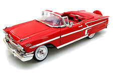 Motor Max 1/18 Scale 1958 Chevy Impala Convertible Red Diecast Car Model 73112
