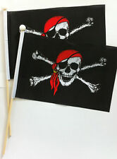 """SKULL & CROSSBONES -PIRATE WITH RED SCARF- 6"""" x 9"""" cloth flag  pack 2 on stick"""