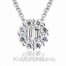 0.5ct Genuine Diamond Pendant Necklace Colour F Clarity VS 18ct White Gold Chain