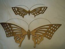 PAIR VINTAGE BRASS BUTTERFLY WALL HANGING PLAQUES NICE RETRO BUTTERFIES QUALITY
