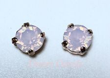 Crystal Stud Earrings Silver Or Gold  Plate Pink Opal Made With Swarovski