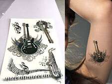Waterproof Colorful Removable Temporary Tattoo DIY 3D Music Guitar Sticker