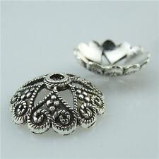 13732 20PCS Alloy Vintage Silver Tone Flower Spacer Beads Caps End 20mm Cap