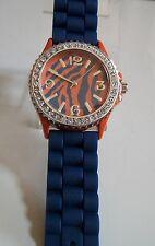 Geneva Fashion Orange/Blue Crystal Encrusted Silicone Band Wrist Fashion Watch