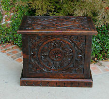Antique English Highly Carved Dark Oak Chest Trunk Blanket Box Table Coffer