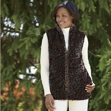 Totes Reverstible Faux Fur Animal Print Vest NEW NWT size Small