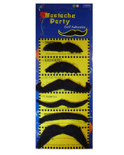Pack of 6 Black Stick on Fake Moustache Self Adhesive Party Joke Mustache