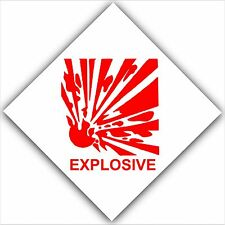 6 x Explosive Warning Stickers-Hazard Health & Safety Signs-Red Caution Notice