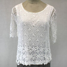 NEW NWT Cj Banks Plus Size White Off Lace Lined Crochet Blouse Spring Summer 1X