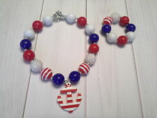 bubblegum chunky bead necklace baby bracelet set anchor 4th of july patriotic