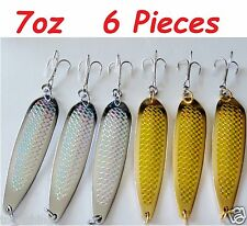 6 pcs Casting 7oz Crocodile Spoons 3 Gold & 3 Silver Saltwater Fishing Lures