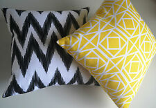 2 x Yellow, Black, White Cushion Covers SLIGHT DEFECTS Zig Zag Chevron IKAT