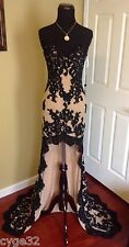 BRAND NEW SHERRI HILL 21016 BLACK NUDE LACE LONG EVENING PAGEANT DRESS GOWN 0