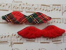 100! Cute Christmas Padded Angel Wings - Red Tartan & Felt Wing - 47mm/1.75""