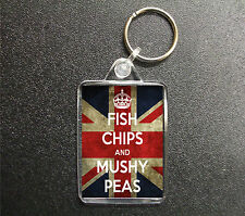 FISH CHIPS AND MUSHY PEAS UNION JACK KEYRING BAG TAG KEEP CALM STYLE