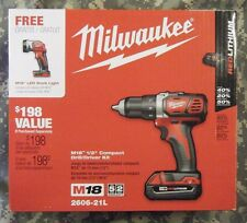 "Milwaukee M18 18V Li-Ion Compact 1/2"" Drill Kit w/LED Work Light  2606-21L NEW!!"
