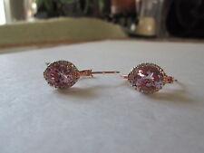Rose De France Amethyst ION Plated 18K RG Brass Hoop Earrings TGW 4.70 cts