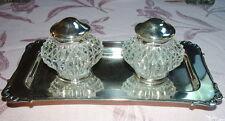 STERLING SILVER INKSTAND w 2 GLASS INKWELL POTS