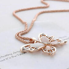 Women Rose Gold Chian Crystal Opal Butterfly Pendant Necklace Fashion Jewelry