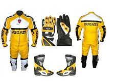 Mens Handmade Yellow DUCATI Motorcycle SUIT Leather Jacket Pants Boots Gloves