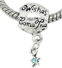 SILVER TONE WISHES COME TRUE, WISH UPON A STAR DANGLE CHARM BEAD