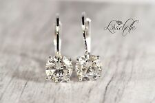 3.0 ct Brilliant Round Drop Dangle Leverback Earrings Real Solid 14k White Gold