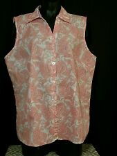 Red White Paisley Sleeveless VNeck Button Up Size XXL